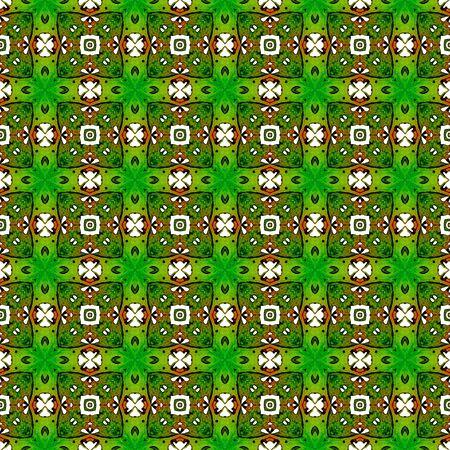 Orange green geometric seamless pattern. Hand drawn watercolor ornament. Beautiful repeating design. Classic fabric cloth, swimwear design, wallpaper wrapping.