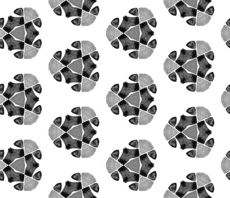 Grey black and white vintage kaleidoscope seamless pattern. Hand drawn watercolor ornament. Surprising repeating tile. Captivating fabric cloth, swimwear design, wallpaper, wrapping.