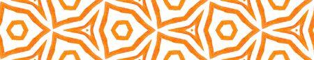 Orange kaleidoscope Seamless Border Scroll. Geometric Watercolor Frame. Breathtaking Seamless Pattern. Medallion Repeated Tile. Decent Chevron Ribbon Ornament.