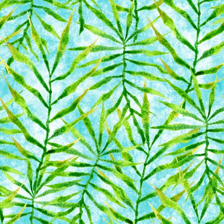 Tropical seamless pattern. Watercolor thorny palm leaves, japanese bamboo. Green exotic swimwear design. Summer tropic repeated print. Classy textile illustration.