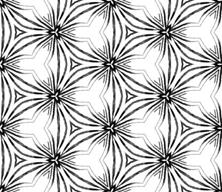 Black and white tropical seamless pattern. Hand drawn watercolor ornament. Marvelous repeating tile. Charming fabric cloth, swimwear design, wallpaper, wrapping. Archivio Fotografico - 133827438
