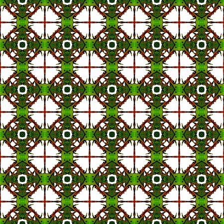 Orange green geometric seamless pattern. Hand drawn watercolor ornament. Beauteous repeating design. Creative fabric cloth, swimwear design, wallpaper wrapping. Archivio Fotografico - 133827442