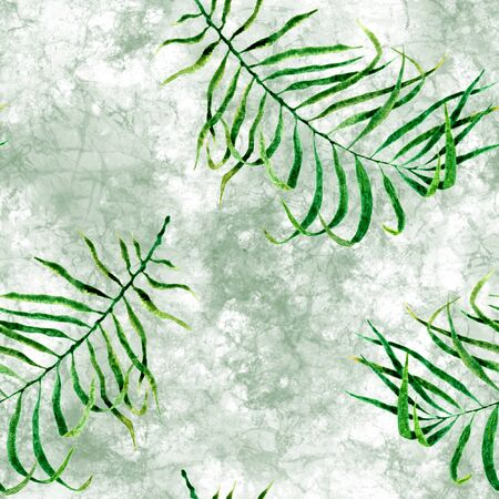 Tropical seamless pattern. Watercolor scattered palm leaves, japanese bamboo. Green exotic swimwear design. Summer tropic repeated print. Fancy textile illustration. Archivio Fotografico - 133827446