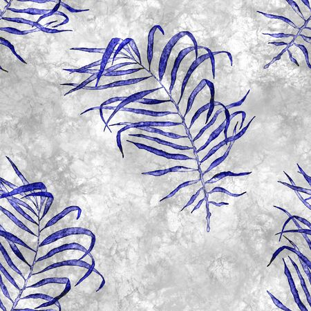 Tropical seamless pattern. Watercolor flapping palm leaves, japanese bamboo. Blue exotic swimwear design. Summer tropic repeated print. Ecstatic textile illustration. Archivio Fotografico - 133827447