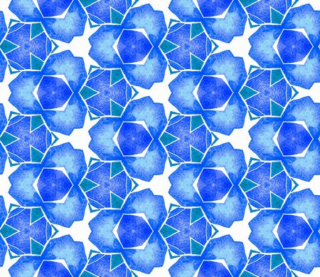 Blue blue vintage seamless pattern. Hand drawn watercolor ornament. Ravishing repeating tile. Alive fabric cloth, swimwear design, wallpaper, wrapping. Archivio Fotografico - 133827461