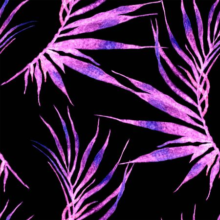 Tropical seamless pattern. Watercolor curved palm leaves, japanese bamboo. Purple exotic swimwear design. Summer tropic repeated print. Terrific textile illustration. Archivio Fotografico - 133827462