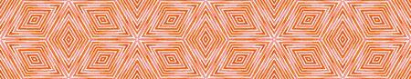 Pink red Seamless Border Scroll. Geometric Watercolor Frame. Amusing Seamless Pattern. Medallion Repeated Tile. Fine Chevron Ribbon Ornament. Archivio Fotografico - 133827464