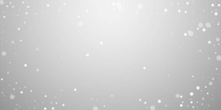 Magic stars random Christmas background. Subtle flying snow flakes and stars on light grey background. Beautiful winter silver snowflake overlay template. Radiant vector illustration.