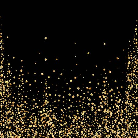 Gold stars luxury sparkling confetti. Scattered small gold particles on black background. Adorable festive overlay template. Charming vector illustration.