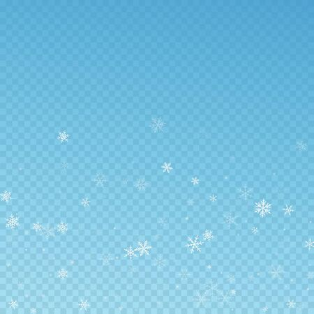 Sparse snowfall Christmas background. Subtle flying snow flakes and stars on blue transparent background. Alluring winter silver snowflake overlay template. Fresh vector illustration.