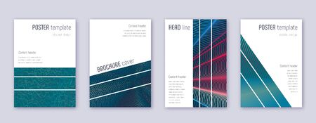 Geometric brochure design template set. Red abstract lines on white blue background. Alluring brochure design. Tempting catalog, poster, book template etc.
