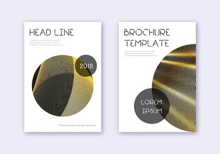 Trendy cover design template set. Gold abstract lines on black background. Flawless cover design. Ecstatic catalog, poster, book template etc.