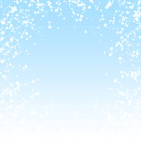 Beautiful falling snow Christmas background. Subtle flying snow flakes and stars on winter sky background. Beauteous winter silver snowflake overlay template. Admirable vector illustration.