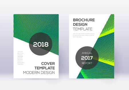 Modern cover design template set. Green abstract lines on dark background. Extra cover design. Splendid catalog, poster, book template etc.