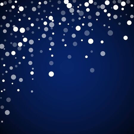 White dots Christmas background. Subtle flying snow flakes and stars on dark blue night background. Adorable winter silver snowflake overlay template. Remarkable vector illustration.