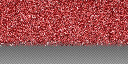 Red gold glitter luxury sparkling confetti. Scattered small gold particles on transparent background. Breathtaking festive overlay template. Attractive vector illustration.