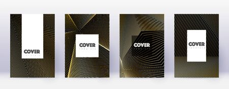 Hipster brochure design template set. Gold abstract lines on black background. Amazing brochure design. Fascinating catalog, poster, book template etc.