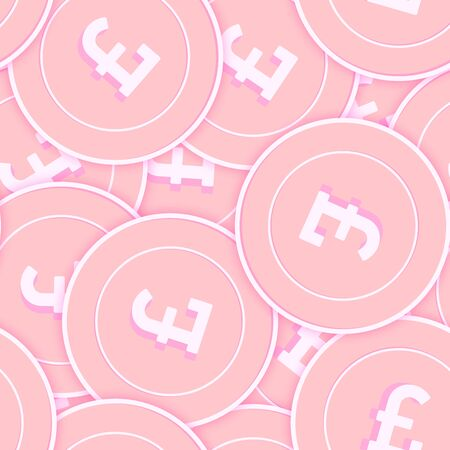 British pound copper coins seamless pattern. Eminent scattered pink GBP coins. Success concept. United Kingdom money pattern. Coin vector illustration.