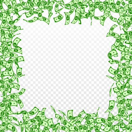 American dollar notes falling. Small USD bills on transparent background. USA money. Comely vector illustration. Gorgeous jackpot, wealth or success concept.