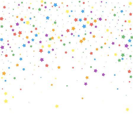 Confettis de fête. Étoiles de célébration. Joyeuses étoiles sur fond blanc. Modèle de superposition festive éminent. Illustration vectorielle exquise. Vecteurs