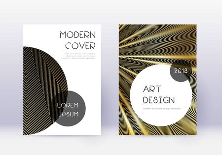 Trendy cover design template set. Gold abstract lines on black background. Good-looking cover design. Resplendent catalog, poster, book template etc.