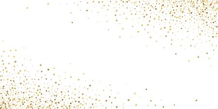 Gold confetti luxury sparkling confetti. Scattered small gold particles on white background. Astonishing festive overlay template. Graceful vector illustration.