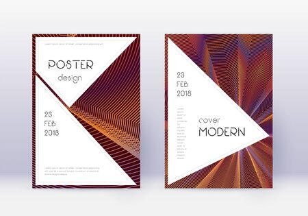 Stylish cover design template set. Orange abstract lines on wine red background. Fantastic cover design. Decent catalog, poster, book template etc.