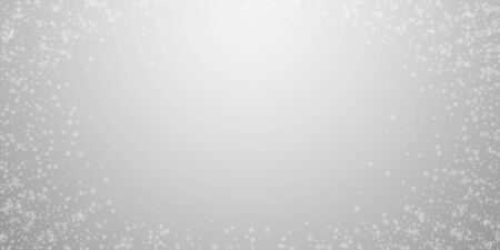 Beautiful glowing snow Christmas background. Subtle flying snow flakes and stars on light grey background. Alive winter silver snowflake overlay template. Remarkable vector illustration. Illustration