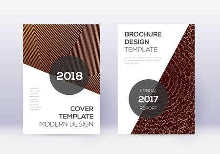 Modern cover design template set. Gold abstract lines on maroon background. Extra cover design. Mind-blowing catalog, poster, book template etc.