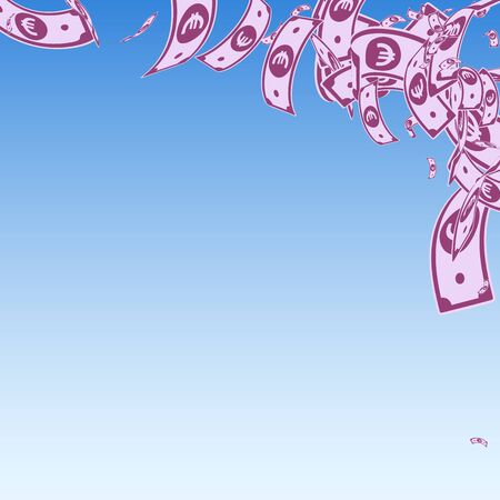 European Union Euro notes falling. Messy EUR bills on blue sky background. Europe money. Amazing vector illustration. Cute jackpot, wealth or success concept.