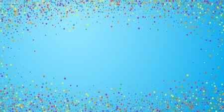 Festive confetti. Celebration stars. Rainbow bright stars on blue sky background. Elegant festive overlay template. Fancy vector illustration.