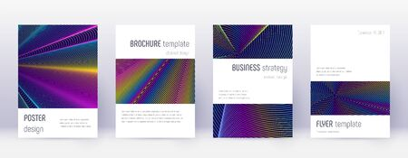 Minimalistic brochure design template set. Rainbow abstract lines on dark blue background. Attractive brochure design. Shapely catalog, poster, book template etc.