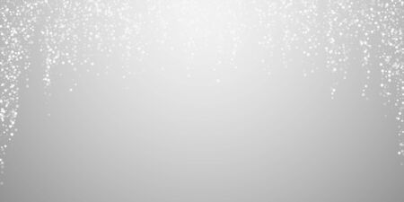 Random white dots Christmas background. Subtle flying snow flakes and stars on light grey background. Attractive winter silver snowflake overlay template. Glamorous vector illustration. Illustration