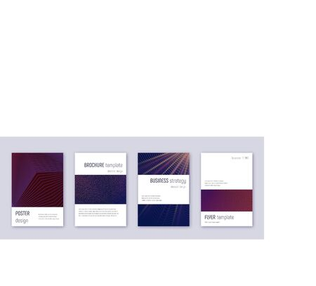 Minimalistic brochure design template set. Violet abstract lines on dark background. Authentic brochure design. Stylish catalog, poster, book template etc.