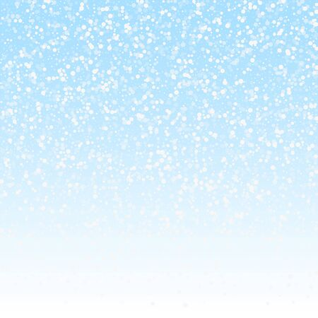Random white dots Christmas background. Subtle flying snow flakes and stars on winter sky background. Alluring winter silver snowflake overlay template. Astonishing vector illustration.