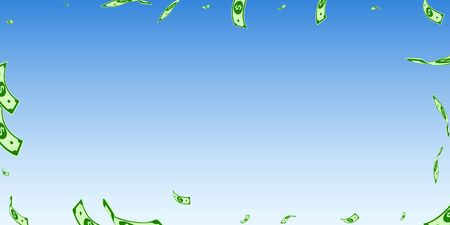 American dollar notes falling. Random USD bills on blue sky background. USA money. Curious vector illustration. Graceful jackpot, wealth or success concept.