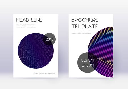 Trendy cover design template set. Rainbow abstract lines on dark blue background. Glamorous cover design. Imaginative catalog, poster, book template etc. Illustration