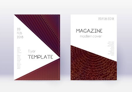 Triangle cover design template set. Orange abstract lines on wine red background. Incredible cover design. Emotional catalog, poster, book template etc.