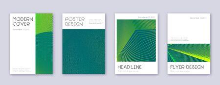 Minimal brochure design template set. Green abstract lines on dark background. Appealing brochure design. Flawless catalog, poster, book template etc. Illustration