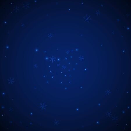 Sparse glowing snow Christmas background. Subtle flying snow flakes and stars on dark blue night background. Actual winter silver snowflake overlay template. Divine vector illustration.