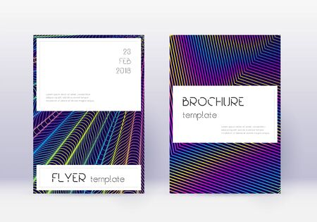 Stylish cover design template set. Rainbow abstract lines on dark blue background. Fine cover design. Adorable catalog, poster, book template etc.