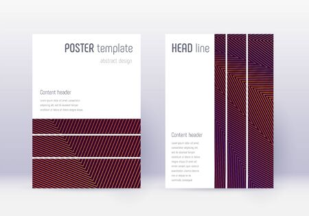 Geometric cover design template set. Orange abstract lines on wine red background. Bewitching cover design. Pleasing catalog, poster, book template etc.