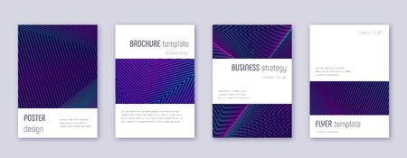 Minimalistic brochure design template set. Neon abstract lines on dark blue background. Astonishing brochure design. Quaint catalog, poster, book template etc.