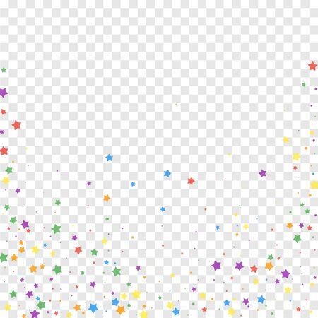Festive confetti. Celebration stars. Joyous stars on transparent background. Captivating festive overlay template. Surprising vector illustration.