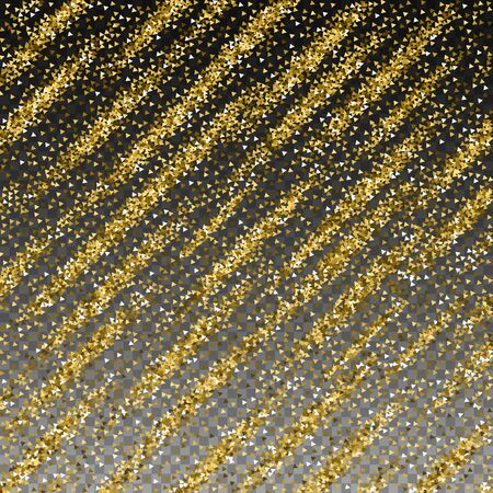 Gold triangles glitter luxury sparkling confetti. Scattered small gold particles on transparent background. Alive festive overlay template. Unusual vector illustration. 向量圖像