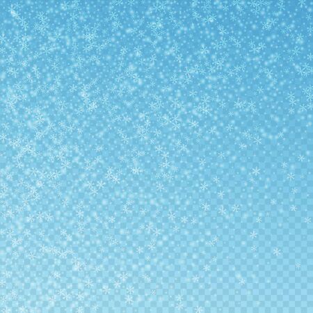 Beautiful glowing snow Christmas background. Subtle flying snow flakes and stars on blue transparent background. Alluring winter silver snowflake overlay template. Sublime vector illustration.