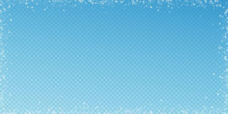 Beautiful snowfall Christmas background. Subtle flying snow flakes and stars on transparent blue background. Admirable winter silver snowflake overlay template. Unusual vector illustration.