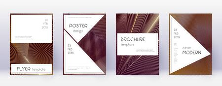 Stylish brochure design template set. Gold abstract lines on bordo background. Beautiful brochure design. Classy catalog, poster, book template etc.