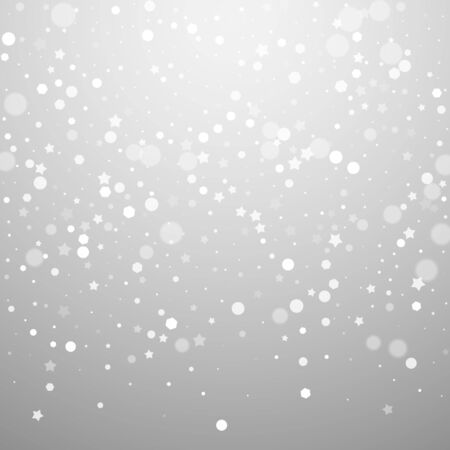 Magic stars random Christmas background. Subtle flying snow flakes and stars on light grey background. Alive winter silver snowflake overlay template. Wonderful vector illustration.