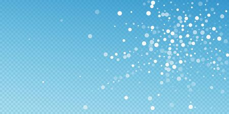 White dots Christmas background. Subtle flying snow flakes and stars on blue transparent background. Artistic winter silver snowflake overlay template. Lively vector illustration.